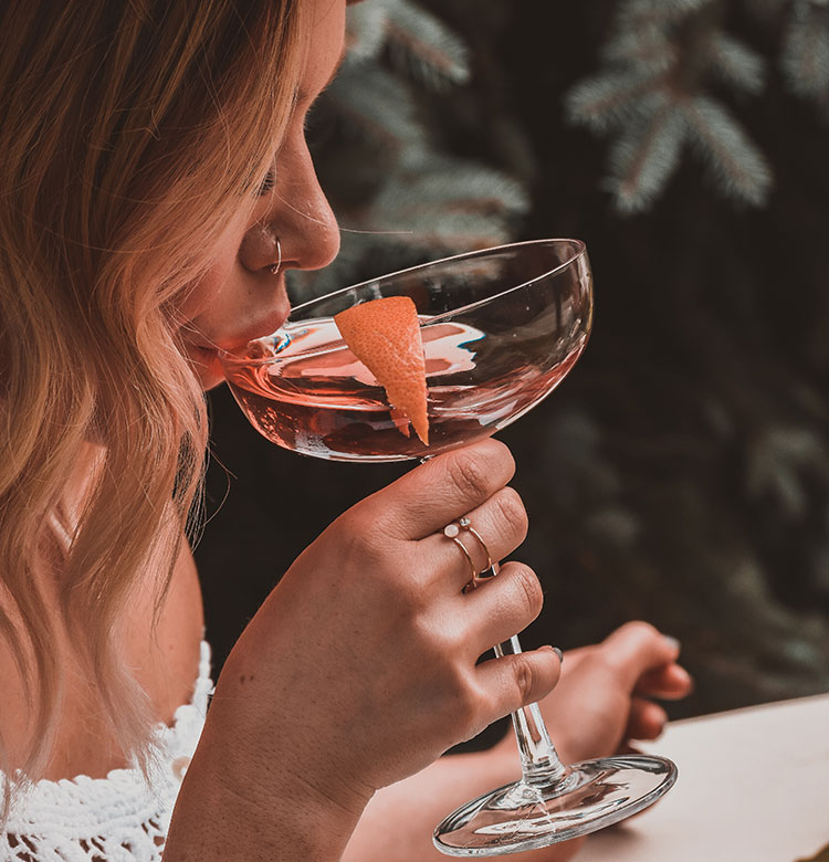 Young Woman Drinking Rosé