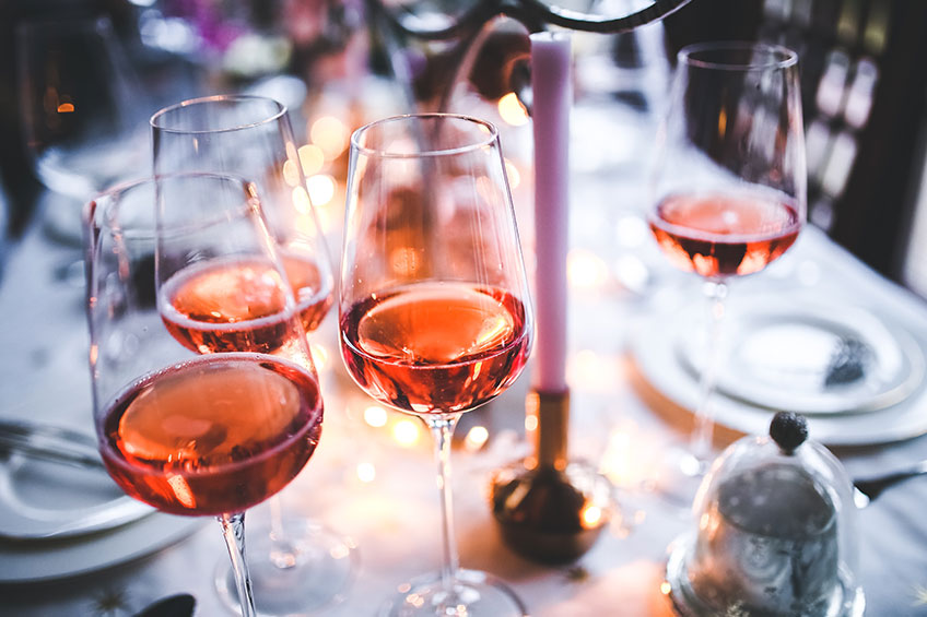 Rosé Wines Served At Dinner Party