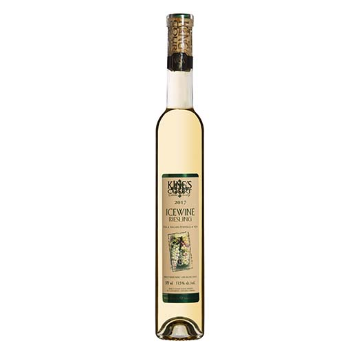 A bottle of 2017 Riesling Icewine on a plain background