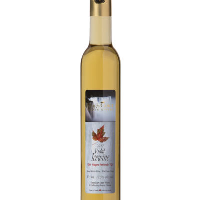 A bottle of 2017 Vidal Icewine on a plain background